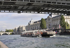 Paris,July 18th:Seine Cruise Boat from Paris in France royalty free stock photo