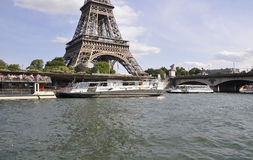 Paris,July 18th:Seine Cruise Boats from Paris in France Royalty Free Stock Photos