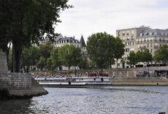 Paris,July 18th:Seine Cruise Ship from Paris in France Royalty Free Stock Image