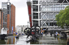 Paris,July 20th:Stravinsky Fountain nearby Pompidou Centre from Paris in France Stock Photography