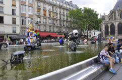Paris,July 20th:Stravinsky Fountain nearby Pompidou Centre from Paris in France Royalty Free Stock Photos