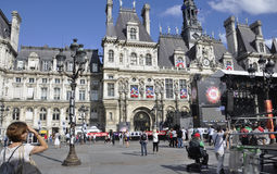 Paris,July 17th:Town Hall plaza from Paris in France Royalty Free Stock Photography