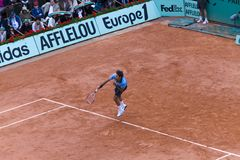 PARIS - JUNE 7: Roger Federer of Switzerland in ac Stock Photo