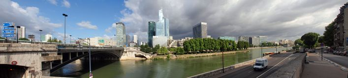 Defense district and Seine river at morning time. Royalty Free Stock Photos