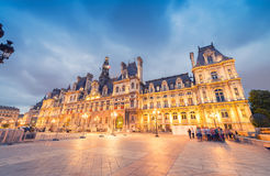 PARIS - JUNE 11, 2014: Hotel de Ville at night. Hotel de Ville i Stock Images