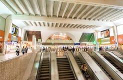 PARIS - JUNE 10, 2014: Interior of subway station. Metro trains Stock Photography