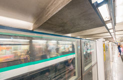 PARIS - JUNE 10, 2014: Interior of subway station. Metro trains Stock Images