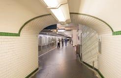 PARIS - JUNE 10, 2014: Interior of subway station. Metro trains Stock Photos
