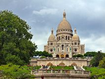 Sacre Coeur of Paris city Motmartre district. Royalty Free Stock Image