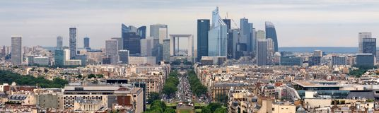 View of Paris from Arc de triumph, to the Defense district. Stock Images