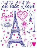 Paris-Kalligraphie - Satz hand-mit Buchstaben gekennzeichnete Gestaltungselemente Lizenzfreie Abbildung
