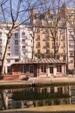 Paris kanal St Martin royaltyfri foto