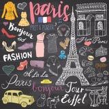 Paris klottrar beståndsdelar Handen drog uppsättningen med Eiffeltorn födde upp kafét, taxitriumfbågen, den Notre Dame domkyrkan, Arkivbilder