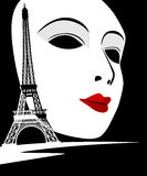 Paris kort som symbolförälskelse Arkivfoto