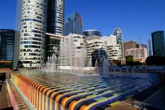 Paris. la Defense on a clear may day. stock images