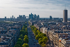 Paris, La Defense, panoramic view. From Triumphal Arch Stock Image
