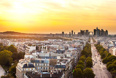 Paris, La Defense at sunset. Paris, skyline and La Defense at sunset Stock Photo