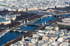 Paris la seine tilt shift. The  photo show the top view Paris with tily-shift filter Royalty Free Stock Photos