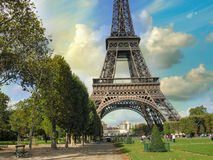 Paris, La Tour Eiffel. Summer sunset above city famous Tower Royalty Free Stock Image