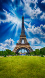 Paris, La Tour Eiffel. Tower view from Champs de Mars garden at Royalty Free Stock Photo