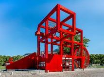 Paris la Villette, röda Folie N7 Fotografering för Bildbyråer