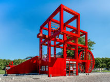Paris, La Villette, rotes Folie N7 Stockbild
