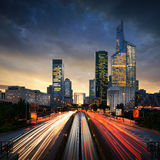 Paris LaDefense at sunset - La Defense Royalty Free Stock Images