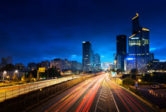 Paris LaDefense in sunset time, France Royalty Free Stock Photography