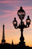 Paris Lamp and Eiffel Tower at Sunset Royalty Free Stock Photos