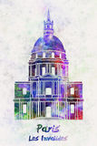 Paris Landmark Les Invalides in watercolor Stock Images