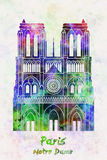 Paris Landmark Notre Dame in watercolor Royalty Free Stock Image