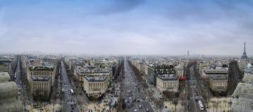 Paris landmark panorama. View from Arc de Triomphe of a Paris Street Royalty Free Stock Photo