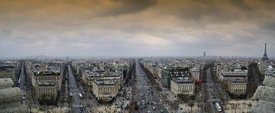 Paris landmark panorama. View from Arc de Triomphe of a Paris Street Royalty Free Stock Image