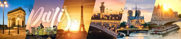 Paris landmarks collage. Of iconic landmarks stock photos