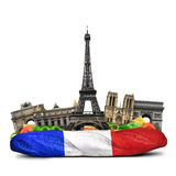 Paris landmarks. French baguette sandwich, funny collage Stock Photography