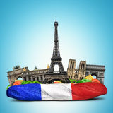 Paris landmarks. French baguette sandwich, funny collage Royalty Free Stock Images