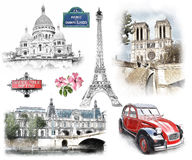 Paris landmarks. Illustration in draw, sketch style. Stock Photography