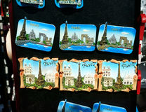 Paris Landmarks Magnets Souvenirs Royalty Free Stock Photography