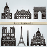 Paris landmarks and monuments. On blue background in editable vector file Stock Image