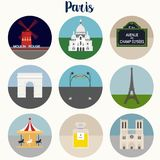Paris landmarks and symbols -. Eps 10 illustrations and icons Stock Photos