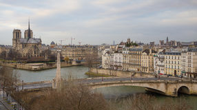 Paris landscape seen from the Arab World Institute. Landscape of Paris on a cloudy winter day Stock Photos