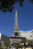 Paris Las Vegas. The Paris block of Las Vegas comes complete with mini eiffel tower and arc de triomphe.  Located opposite the famous Bellagio Stock Photography
