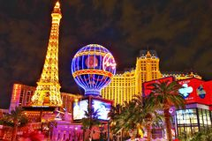 The Paris Las Vegas hotel and casino night view stock images