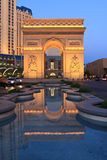 Paris in Las Vegas at twilight. The Arc de Triomphe, France in Las Vegas.United States Royalty Free Stock Images