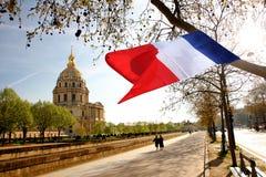 Paris, Les Invalides, borne limite célèbre Image libre de droits