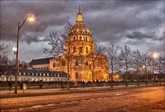 Paris: Les Invalides. A rare moment between cars. The city pauses Royalty Free Stock Image