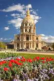 Paris, Les Invalides with tulips, France Royalty Free Stock Photo