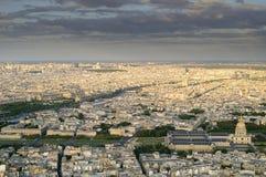 Paris- les invalids. Paris from eiffel tower, the Siene river and les invalids, ecole militar Stock Photo