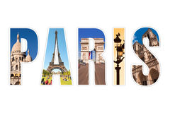 Paris letters with monuments isolated on white. Background Royalty Free Stock Photo