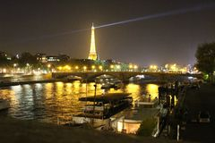Paris lights at night no motion Royalty Free Stock Image